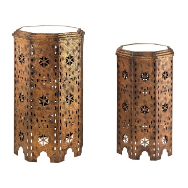 Tisch Set Of 2 Moroccan Side Table With Mirrored Tops