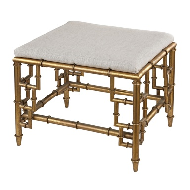 Hocker Stool With Bamboo Frame In Gold Leaf And Seat Linen