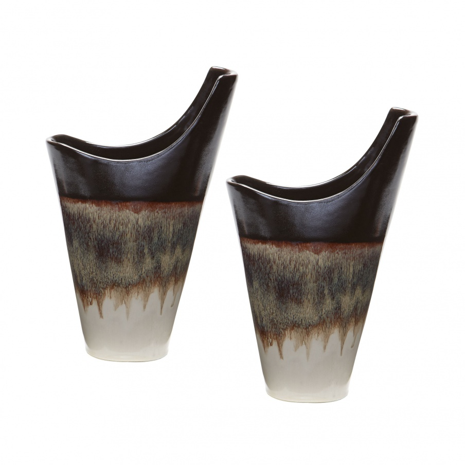 Vase Small Reaction Vases In Cascade Mocca - Set Of 2 Dimond Home
