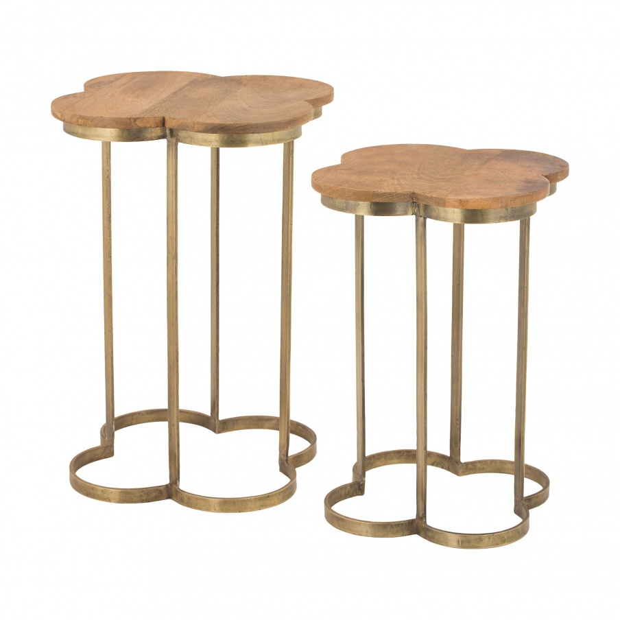 Tisch Gold Leaf Quatrafoil Accent Table Dimond Home