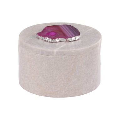 Aufbewahrungsbox Antilles Round Box In Marble White And Pink Agate