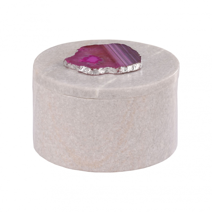 Aufbewahrungsbox Antilles Round Box In Marble White And Pink Agate Dimond Home