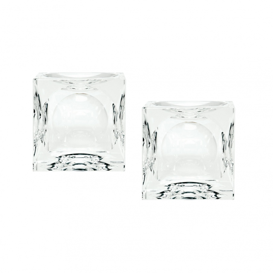Kerzenhalter Grübchen Gebildetes Crystal Cubes - Small. Set Of 2 Dimond Home